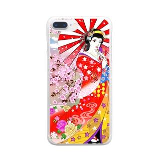【クールジャパン】浮世絵風 Clear smartphone cases