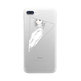 △窓からあの子を覗く Clear smartphone cases