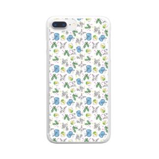 どうぶつーズの総柄05 Clear smartphone cases