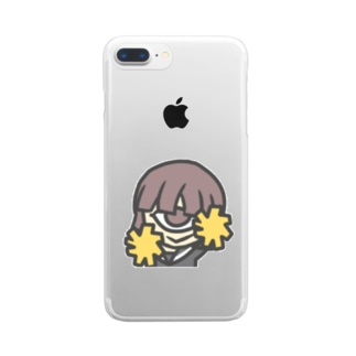LINE絵文字 単眼少女 Clear smartphone cases