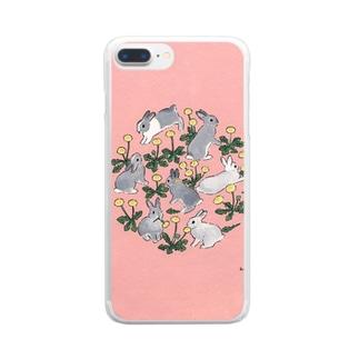 タンポポ大好きうさぎさん Clear smartphone cases