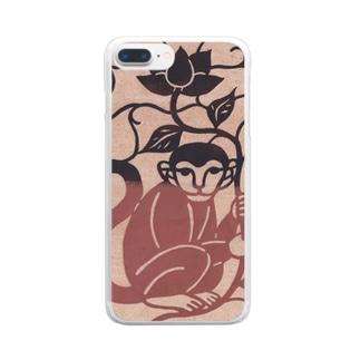 花を持つサル Clear smartphone cases