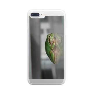 カエルさんの横顔 Clear smartphone cases