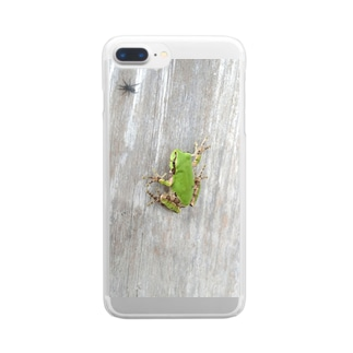 壁に貼りつくカエルさん Clear smartphone cases