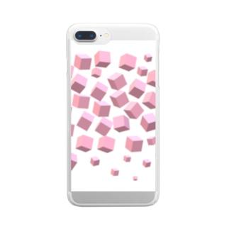 ピンクボックス散乱 Clear smartphone cases