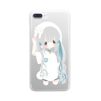 メルトねこカチューシャちゃん Clear smartphone cases