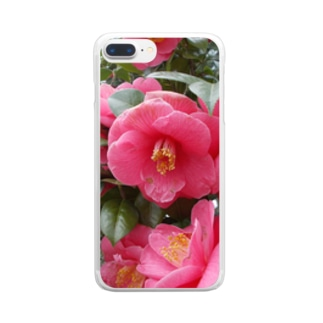 Pink camelia blooming カメリア Clear smartphone cases