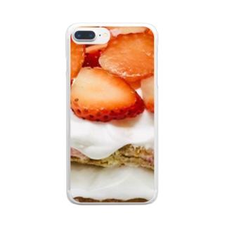 スカイベリー!イチゴクリーム!生クリーム!ケーキ!!! Clear smartphone cases