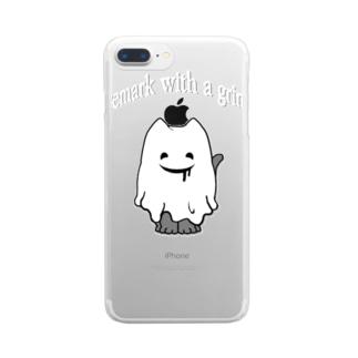 ニヤリネコオバケ Clear smartphone cases