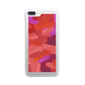 桜舞う赤 Clear smartphone cases