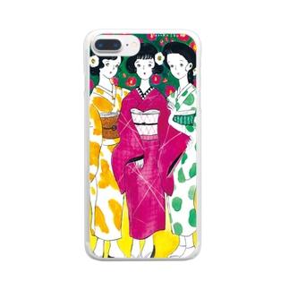着物を着た3人娘 Clear smartphone cases
