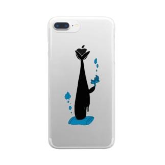二度寝クジラ Clear smartphone cases