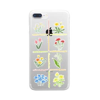 スケルトン 春のはな Clear smartphone cases