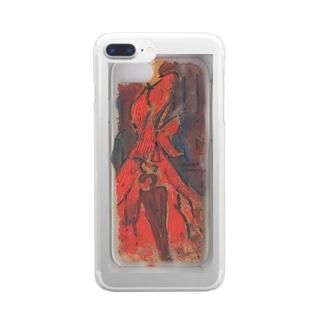 光の雨が降る 赤いドレスの淑女 Clear smartphone cases