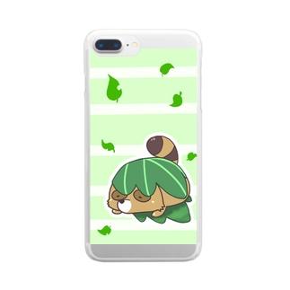 まんまるたぬき かしわもち Clear smartphone cases