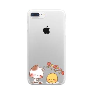 ほのぼのねこさんとぴよみさん Clear smartphone cases