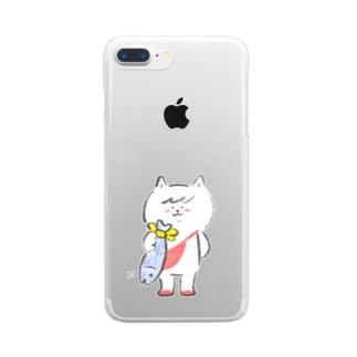 ポシェットにゃんこ協会 おさかなギフト Clear smartphone cases