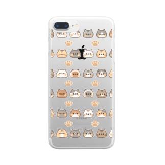 ネコがいっぱい 大量ver. Clear smartphone cases