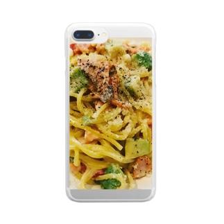 アボカドとサーモンのクリームパスタ Clear smartphone cases