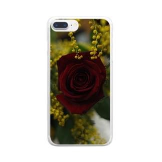 ミモザと薔薇 Clear smartphone cases