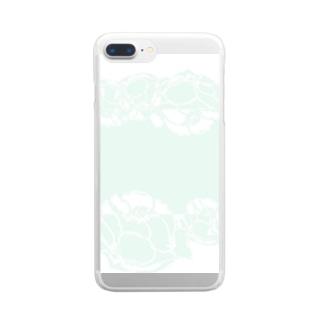 flower white  green plant botanical ボタニカル 花 グリーン ホワイト 淡い 緑 Clear smartphone cases