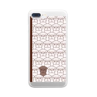 パグまみれ* Clear smartphone cases
