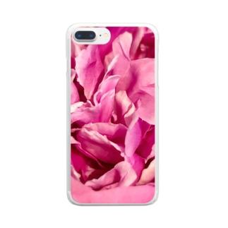 情熱のピンクシャクヤク Clear smartphone cases