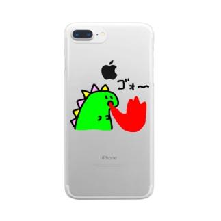 ダイナソーが火吹いてるやつ Clear smartphone cases