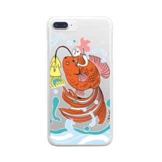 跳ね金魚 Clear smartphone cases