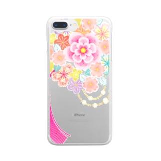 花かんざし02 Clear smartphone cases