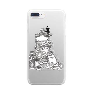 ヒゲバーガー よくばりセット Clear smartphone cases