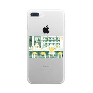 ひとねこ「喫茶ねこ」 Clear smartphone cases