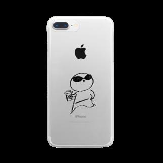 さかがわ成美のひよさんラテ モノクロ線画 Clear smartphone cases
