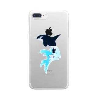 シャチ(波しぶき) Clear smartphone cases