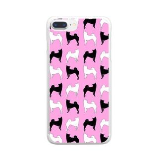 柴犬ピンク Clear smartphone cases