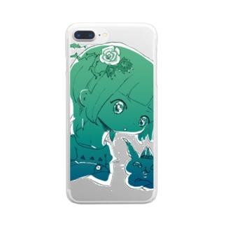 うでくみ濃緑(透過) Clear smartphone cases
