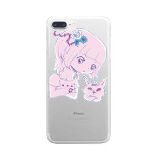 (小) うでくみ紫(透過) Clear smartphone cases