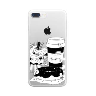 tanka/スイーツとオオサンショウウオ Clear smartphone cases