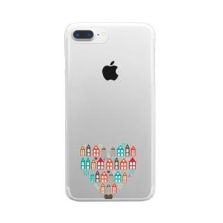 ハートの街並 Clear smartphone cases