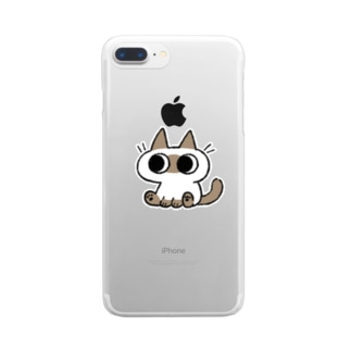 シンプルなシャムちゃん Clear smartphone cases