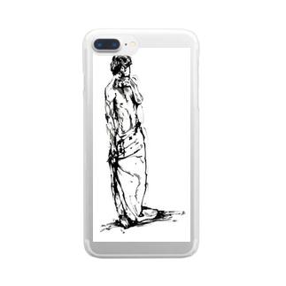 半裸の男性 Clear smartphone cases