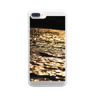 黄金の波 Clear smartphone cases