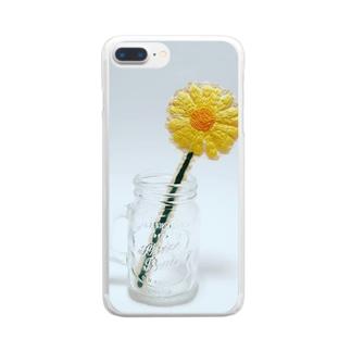 刺繍で作った黄色いお花 Clear smartphone cases