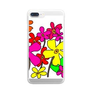 手書きのお花 Clear smartphone cases