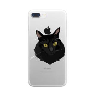 もふもふ黒猫時雨さん Clear smartphone cases
