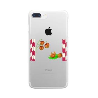 矢がすりフレーム 枝つきホオズキ Clear smartphone cases