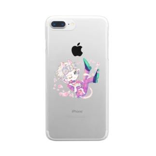 デフォルメきらきらジョルノ ねこみみver. Clear smartphone cases