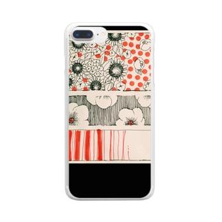 レトロフラワー Clear smartphone cases