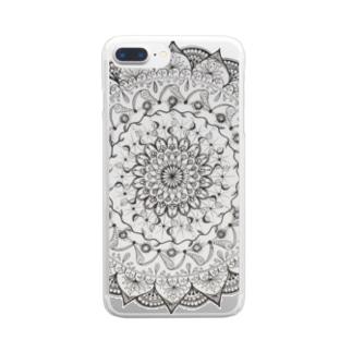 Mandala 内にひそむ遊び心 Clear smartphone cases