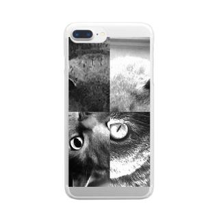 ねこ・ねこ・ねこ・ねこ Clear smartphone cases